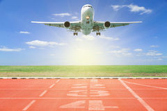 Airplane take off with Start and Finish point of race track ,Run Stock Images