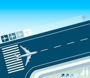 Airplane at the take-off strip. Concept illustration stock illustration