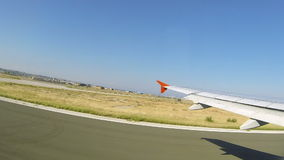 Airplane take off from Thessaloniki airport Stock Photo
