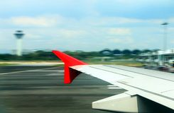 Airplane take off from window view Royalty Free Stock Photography