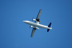 Airplane in takeoff. Propeller airplane in takeoff stock photography
