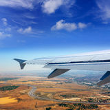Airplane takeoff from Madrid barajas in Spain Stock Photo