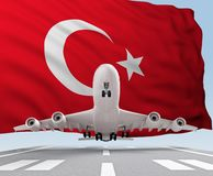 Airplane takes off against backdrop Turkey flag. 3d rendering royalty free stock images
