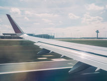 Airplane Takes Off from Airport in Berlin Royalty Free Stock Photo