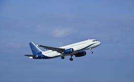 Airplane taking off. Modern passenger jet airplane at take off stock images