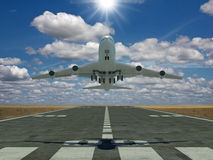 Airplane taking off. Very high resolution 3d rendering of an airplane taking off Stock Images