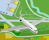 Airplane taking off from airfi. Vector art of an Airplane taking off from airfield stock illustration
