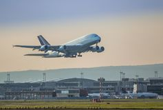 Airplane taking off. In the airport Frankfurt stock photography