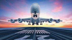 Airplane taking off from the airport. 3d rendering and illustration Stock Photography