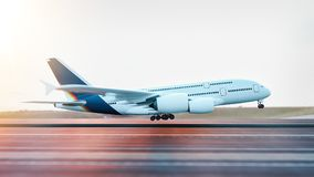 Airplane taking off from the airport. 3d rendering and illustration Royalty Free Stock Images