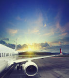 Airplane taking off from the airport. fragment of the body of aircraft Stock Photography