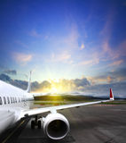 Airplane taking off from the airport. fragment of the body of aircraft Stock Photo