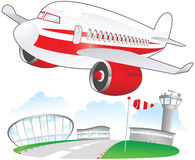 Airplane taking off at airport. An illustration of a cartoon style airplane taking off from a runway. E.P.S. 10 vector file included with image, isolated on Royalty Free Stock Images