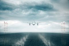 Airplane taking off. Back view of airplane taking off on stromy sky background. 3D Rendering Royalty Free Stock Photos