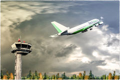 Airplane taking off. 3d illustration of an airplane taking off Stock Photos