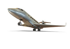 Airplane taking off. 3D render image representing an private jet taking off Royalty Free Stock Photo