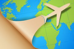 Airplane Taking off on Earth Map Stock Images