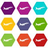 Airplane taking off icon set color hexahedron Royalty Free Stock Image