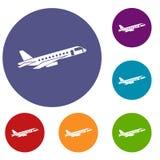 Airplane taking off icons set Stock Photos