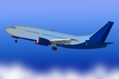 Airplane taking off isolated on blue sky. Realistic flying plane Stock Image