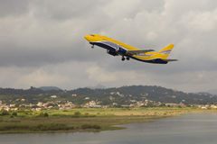 Airplane taking off. Kerkyra airport, Greece stock images