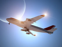 Airplane Taking off with Moon in the Sky Royalty Free Stock Photo