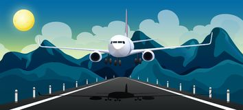 An Airplane Taking off Runway. Illustration Stock Image