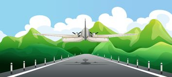 Airplane Taking off the Runway. Illustration Royalty Free Stock Photography