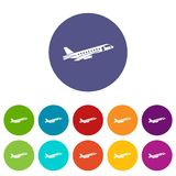 Airplane taking off set icons Stock Photography