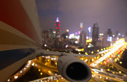 Airplane taking off from shanghai Stock Images