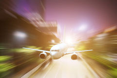Airplane taking off from shanghai in the night Royalty Free Stock Photos