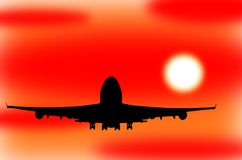 Airplane Taking Off in a Sunset stock illustration