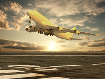 Airplane taking off at sunset. Very high resolution 3d rendering of an airplane taking off at sunset Stock Images