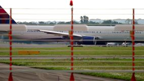 Airplane taxiing after landing. Dusseldorf, Germany - July 23, 2017: Delta Airlines boeing 767 N841MH taxiing after landing. Dusseldorf airport stock video