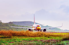Airplane taxiing Royalty Free Stock Photo