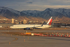 Airplane taxiing. Airplane in Salt Lake City airport Stock Photos