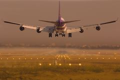 Airplane of Thai Airways International Boeing 747 Landing royalty free stock images