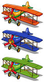 Airplane in three different colors Stock Photos