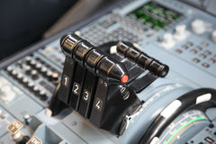 Airplane throttles Stock Photo