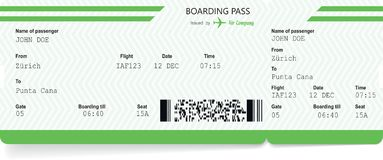 Airplane ticket blank. Green boarding pass. Pattern of airplane ticket blank. Green boarding pass on white background. Vector illustration vector illustration