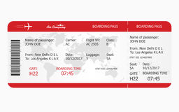 Airplane ticket. Boarding pass ticket template royalty free illustration