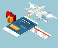 Airplane ticket online booking on smartphone. Vector isometric royalty free illustration