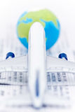 Airplane, ticket, world globe Royalty Free Stock Photos