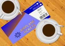 Airplane tickets. First class airplane tickets and two cups of coffee on a wooden table Royalty Free Stock Photography