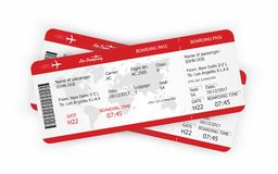 Airplane tickets. Boarding pass tickets template. Vector royalty free illustration