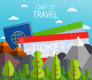 Airplane Tickets  with passport. Travel concept background. Stock Image