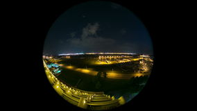 Airplane Time Lapse Airport Fisheye Circle stock video footage