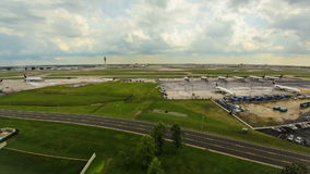 Airplane Time Lapse Airport Wide Royalty Free Stock Image