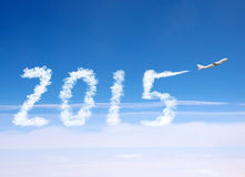 2015 with airplane. Royalty Free Stock Photos