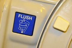 Airplane Toilet Flushing Sign. Age and Mechanism stock images